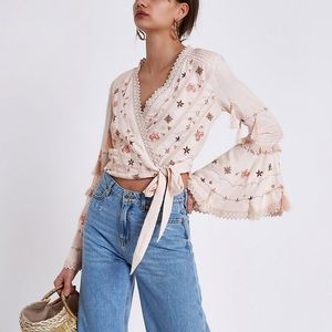 Pink Embroidered Bell Sleeve Crop Top